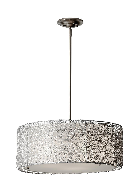 Feiss F2702 3BS Wired Fabric Shade Drum Pendant Lighting, Satin Nickel, 3-Light 20 W x 8 H 300watts