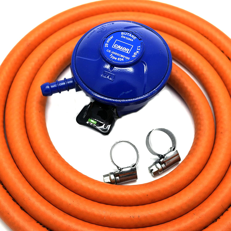 CALOR GAS Brand Butane 21Mm Gas Regulator 2Mt Hose & 2 Clips 5 Year Warranty