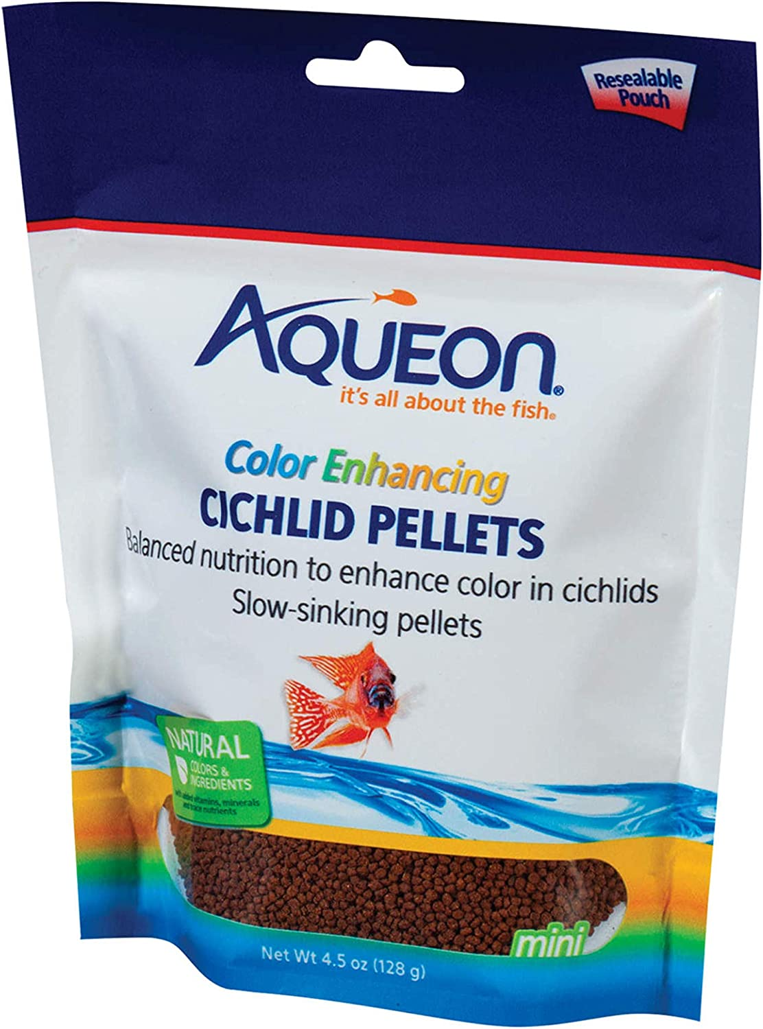 Aqueon Cichlid Food Color Enhancing Pellets, 4-1/2-Ounce
