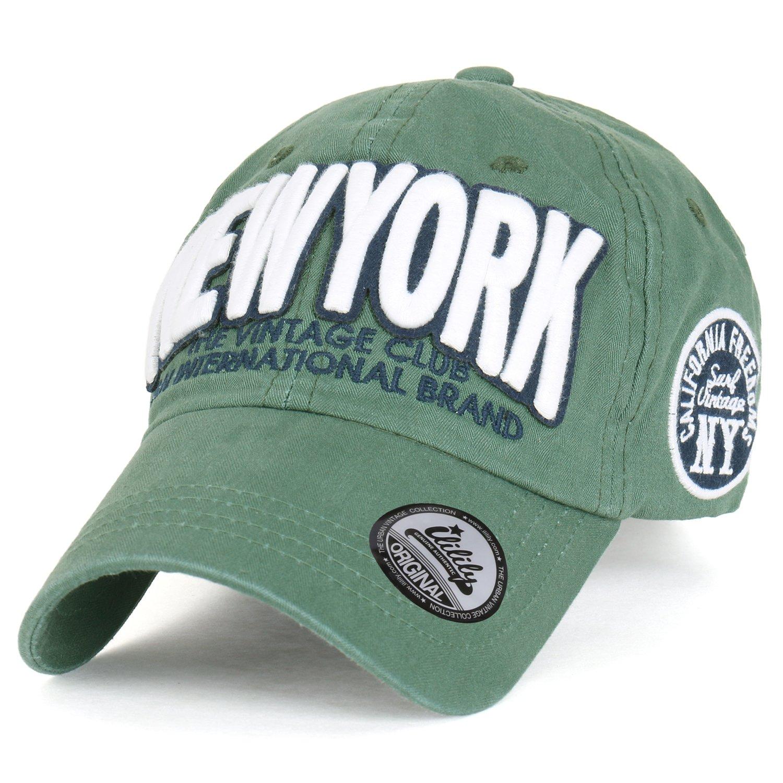 9b1ba425aa2 ililily Cotton   Newyork  Vintage Adjustable Curved Hat Baseball Cap  (ballcap-1428-4) at Amazon Men s Clothing store