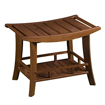 Amazon.com: Furniture HotSpot – Teak Outdoor Bench/Shower Stool - 24 ...