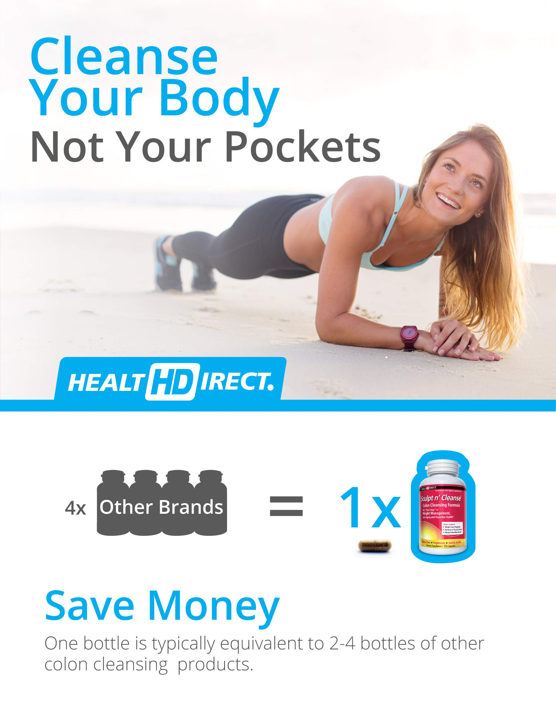 Sculpt n' Cleanse: Colon Cleanse, Detox, Weight Loss & Increased Energy Supplement | Vegan | Non GMO by Health Direct (Image #4)
