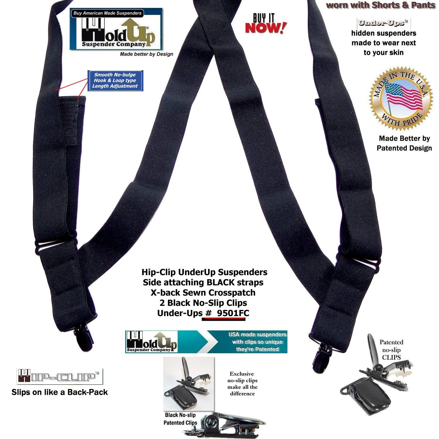 1 1//2 Undergarment Hold-Up/® Suspender Hip Clip style Patented No-slip/® Clips
