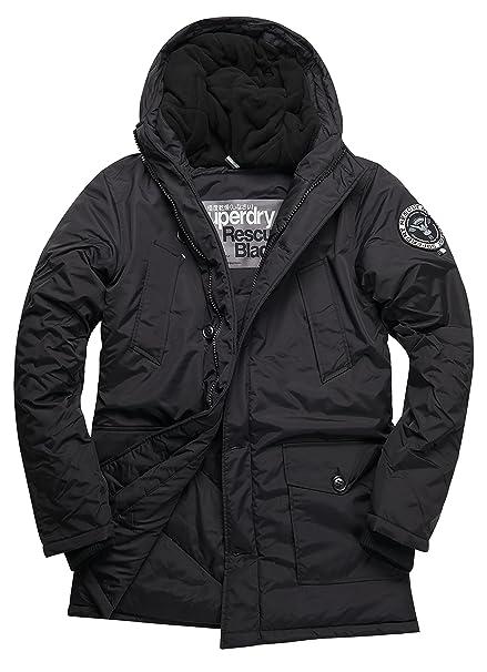 Superdry Everest Parka, Abrigo Impermeable para Hombre, Negro (Black02A), L