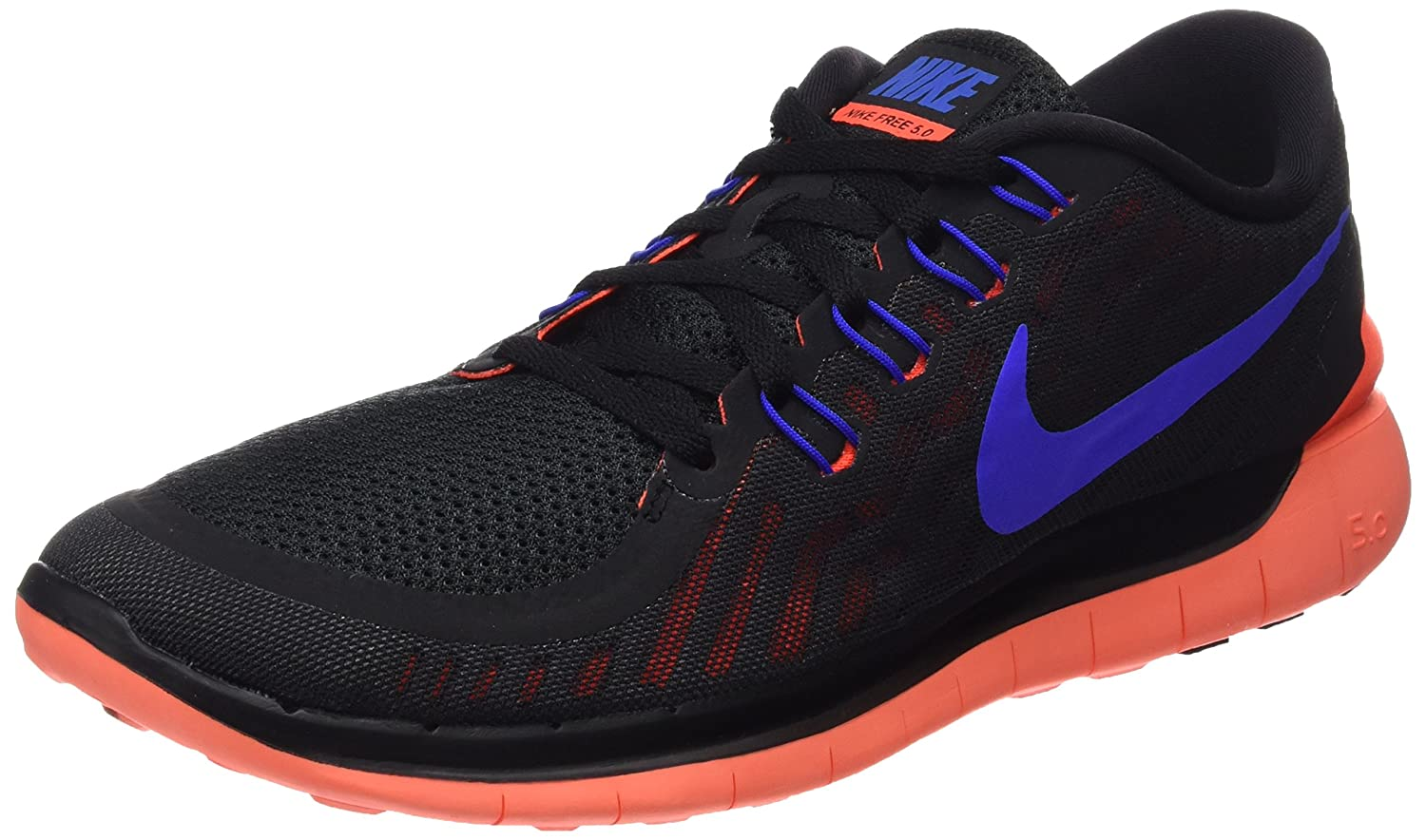 Nike Men's Free 5.0 Running Shoe B002T4OM1I X-Large|Black/Total Crimson/Dark Grey/Racer Blue