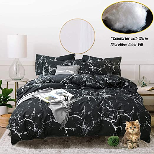 Double Size Cotton 3Pcs Brown White Coffee Bean Two Side Duvet Cover Bedding Set