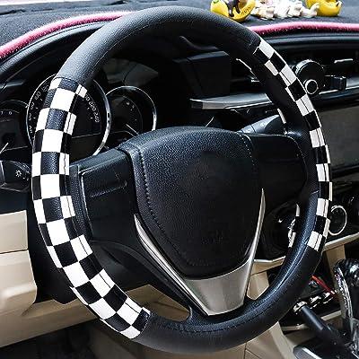 Evankin Microfiber Leather Checker Flag Black & Red Car Steering Wheel Cover Non-Slip and Comfortable Universal 15 inch Car Accessories(Lattice White): Automotive
