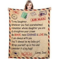 Blanket to My Daughter from Dad Personalized Encourage Inspirational Fleece Throw Blankets Birthday Valentine's Day…