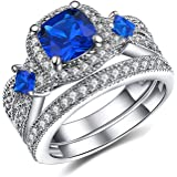 Vibrille Cushion-Cut Lab-created Blue Sapphire and Cubic zirconia Square Frame Bridal Wedding Ring Sets in Sterling Silver