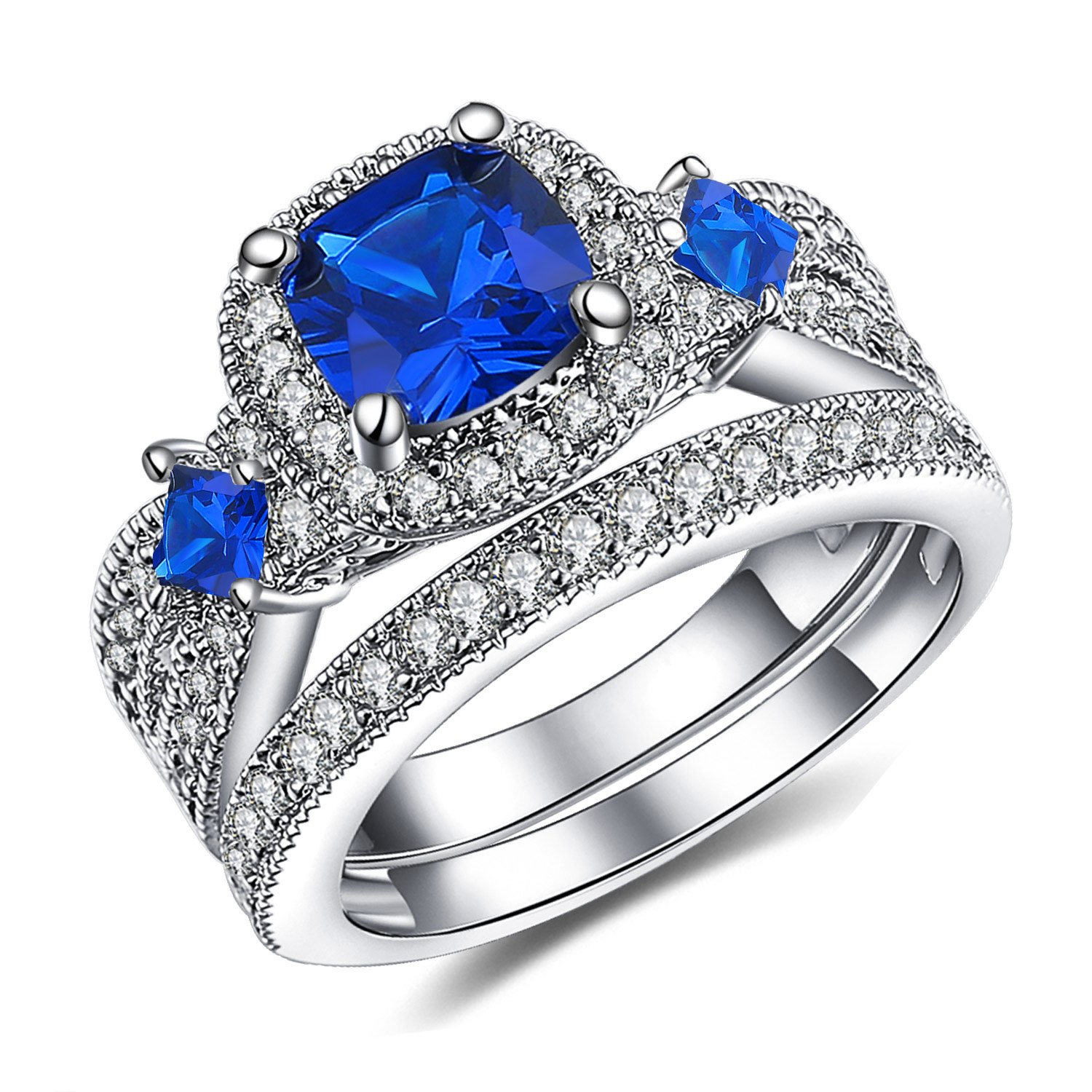 Vibrille 925 Sterling Silver Cushion-Cut Created Blue Sapphire and Cubic zirconia Square Frame Bridal Wedding Ring Sets Size 9
