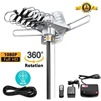 Vilso TV Antenna Outdoor Amplified - Motorized 360 Degree Rotation - Digital HDTV Antenna - 150 Miles Range - Wireless infrared Remote (Non Mount Pole)