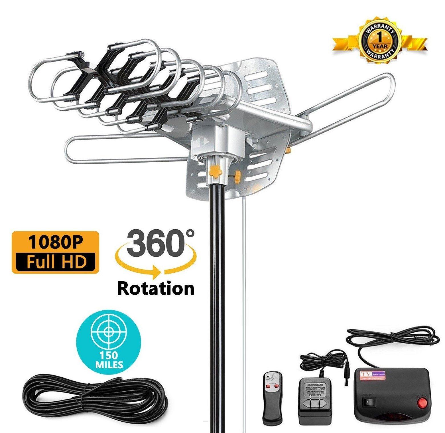 Vilso TV Antenna Outdoor Amplified - Motorized 360 Degree Rotation - Digital HDTV Antenna - 150 Miles Range - Wireless infrared Remote (Non Mount Pole)