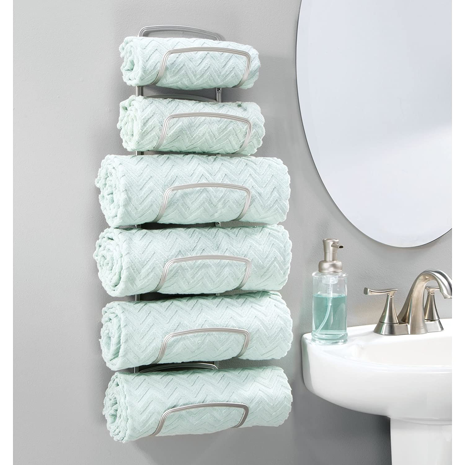 mDesign Modern Decorative Metal Three Level Wall Mount Towel Rack ...