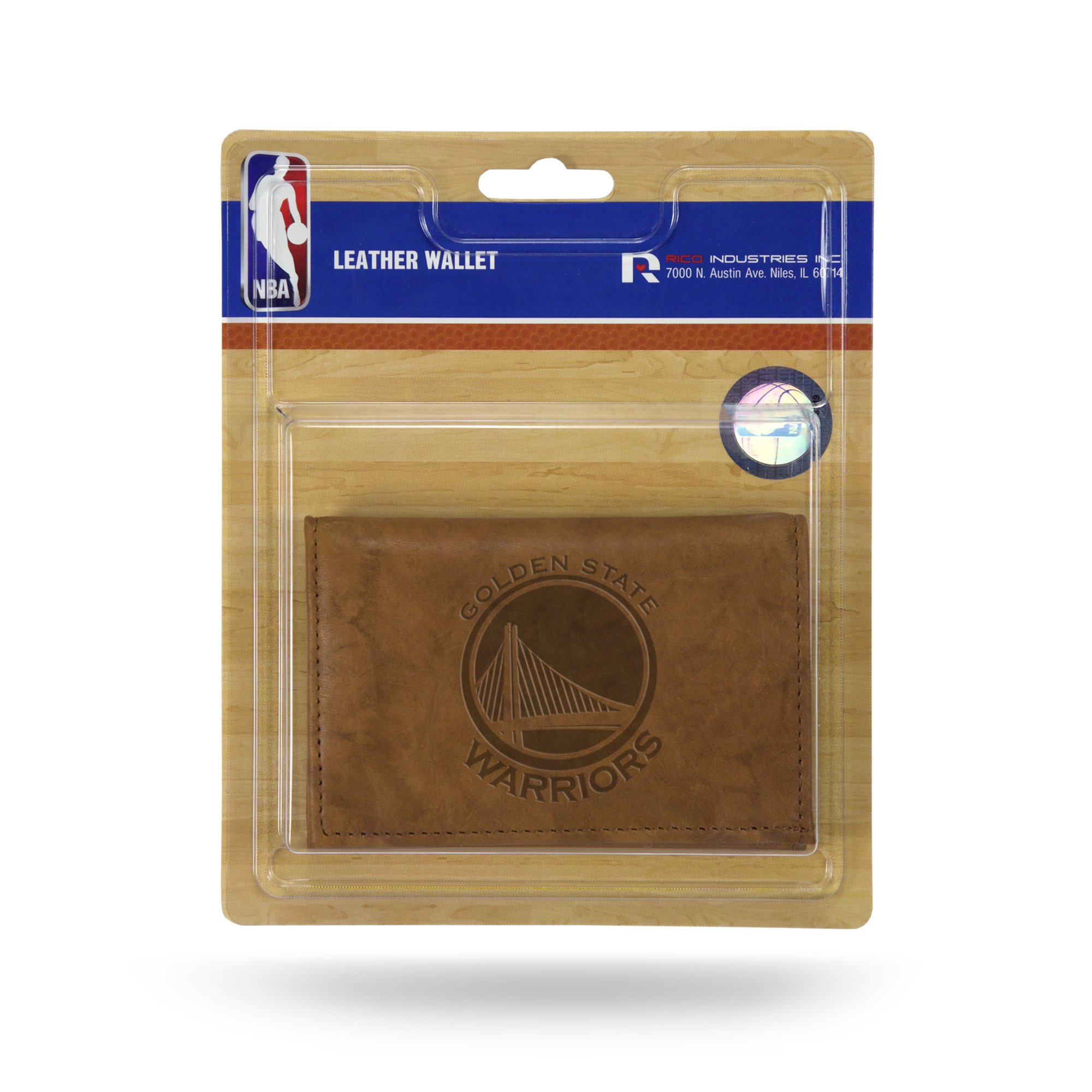 Rico NBA Golden State Warriors Embossed Leather Trifold Wallet with Man Made Interior