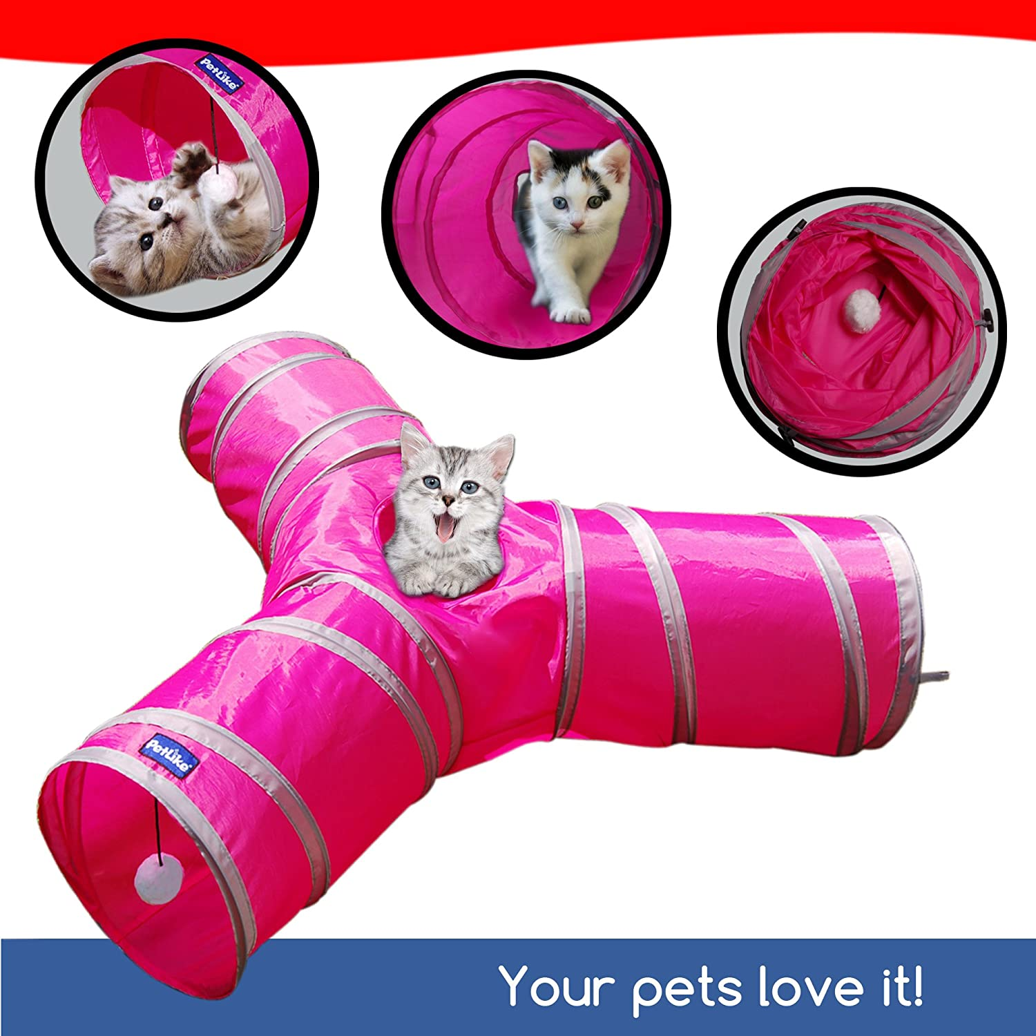 pink red PetLike 3 Way Tunnel for Cats by Three Way Kitten Toy, Collapsible Cat Tube for Exercise, Entertainment & Run   Durable & Comfortable Hideaway   Pet Friendly & Fun for Kittens, Small Dogs & Rabbits