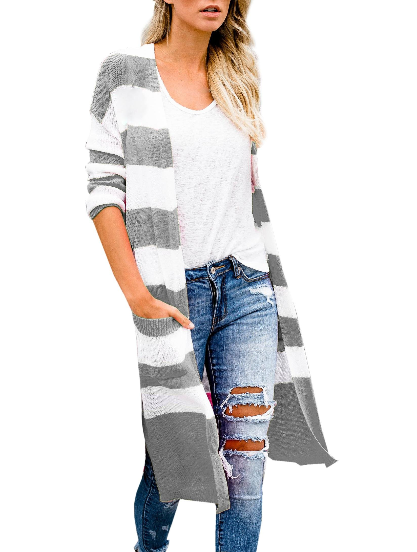 Remikstyt Womens Striped Cardigan Sweaters Geometric Colorblock Cardigans with Pockets