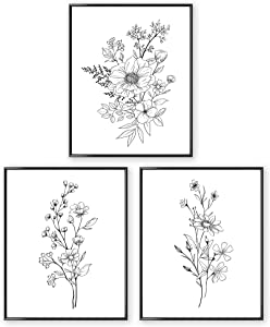 SL Design Black and White Prints, Botanical Wall Art Prints 11x14 UNFRAMED, Aesthetic Poster for Bedroom, Flower Drawing, 3 Set Farmhouse Wall Decor, Floral Living Room Posters