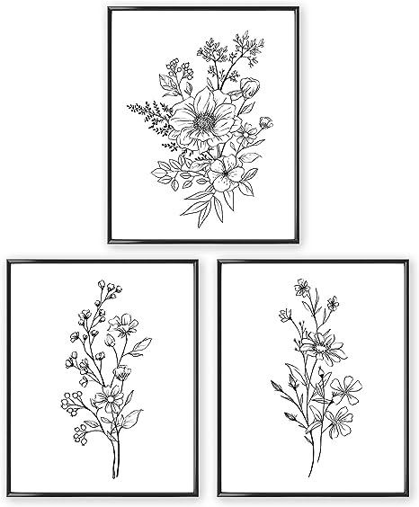Black and White Wall Art Framed Black Floral Wall Art Framed Vertical Wall Art Botanical Black and White Prints White Frame