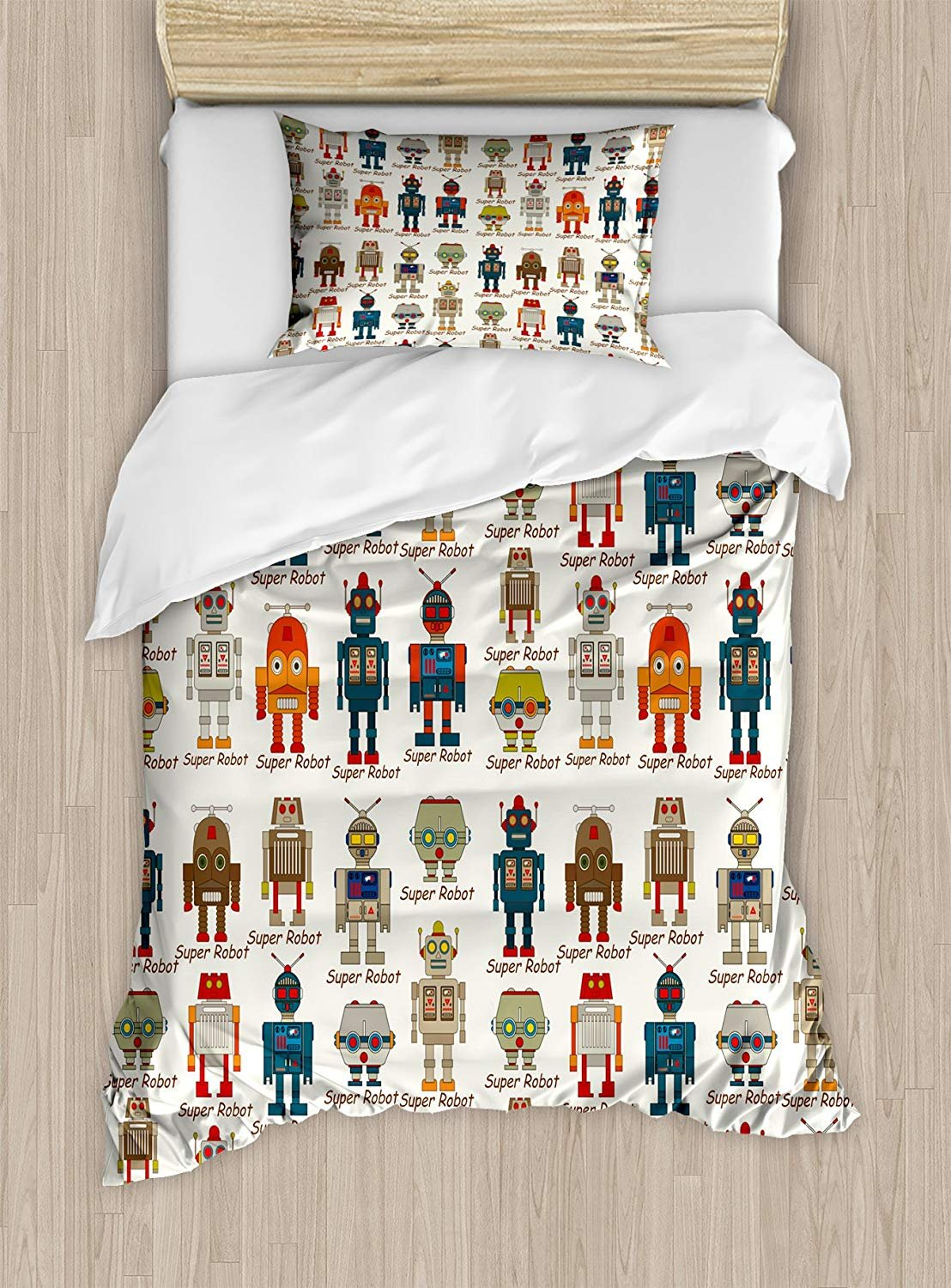 Kids Duvet Cover Set,Various Different Super Robot Figures Set in Cartoon Style Fantasy Futuristic Machine,Cosy House Collection 4 Piece Bedding Sets