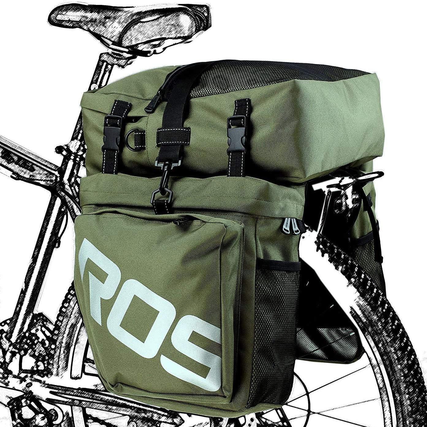 Roswheel Bolsa para Bicicleta Multifunción 3 En 1, Alforja para Maletero del Asiento Trasero,Green: Amazon.es: Deportes y aire libre