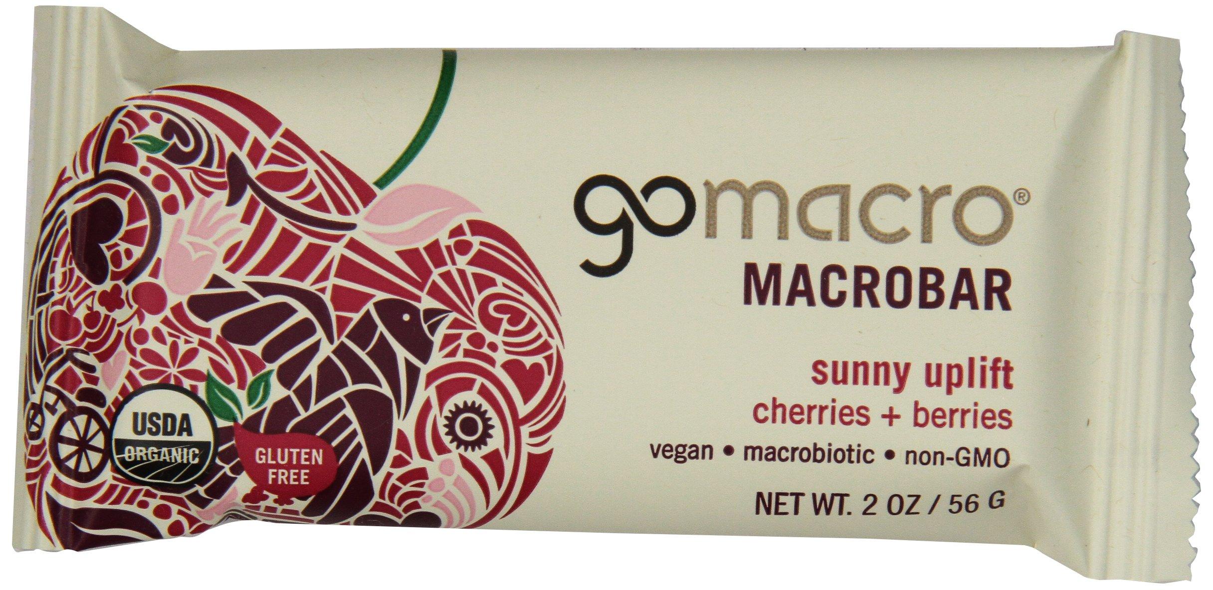 GoMacro MacroBar Organic Vegan Snack Bars, Cherries & Berries, 2 Ounce Bars (Pack of 12)