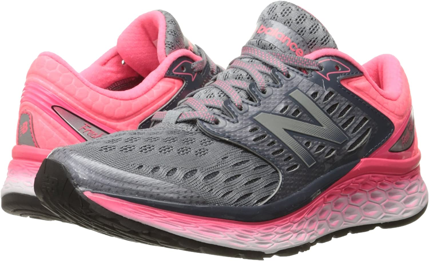 New Balance Womens Fresh Foam 1080v6 Running Shoe, Silver/Pink, 5 D US: Amazon.es: Zapatos y complementos