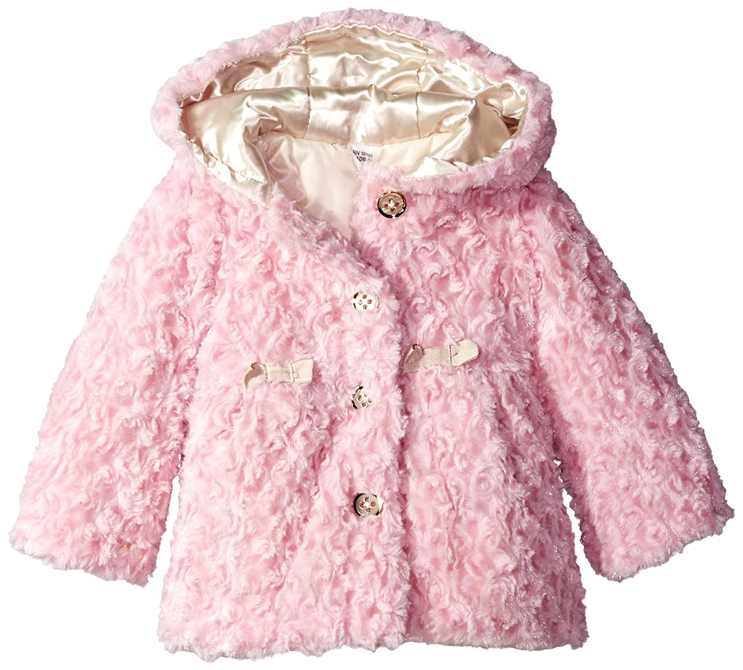 London Fog Pink Crushed Faux Fur Coat With Hood L217579 Outerwear