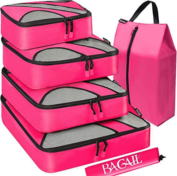 BAGAIL 6 Set Packing Cubes,Travel Luggage Packing Organizers with Laundry Bag