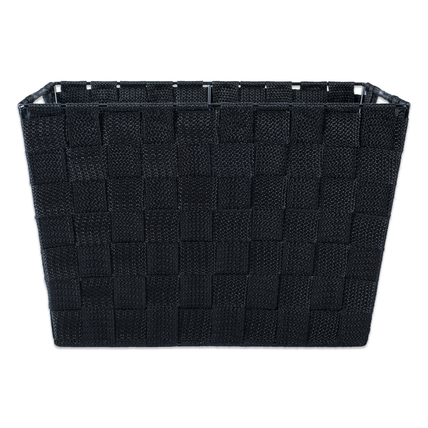 DII Durable Trapezoid Woven Nylon Storage Bin or Basket for Organizing Your Home or Closets Office Large Basket-13x15x10 Black-Set of 2