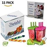 Freshelato - Eis am Stiel / Wassereisformen Set + 2 x Silikon Eis Pop Form + Trichter + Bürste + Rezeptbuch (Ebook auf Deutsch) (Grün-Pink)