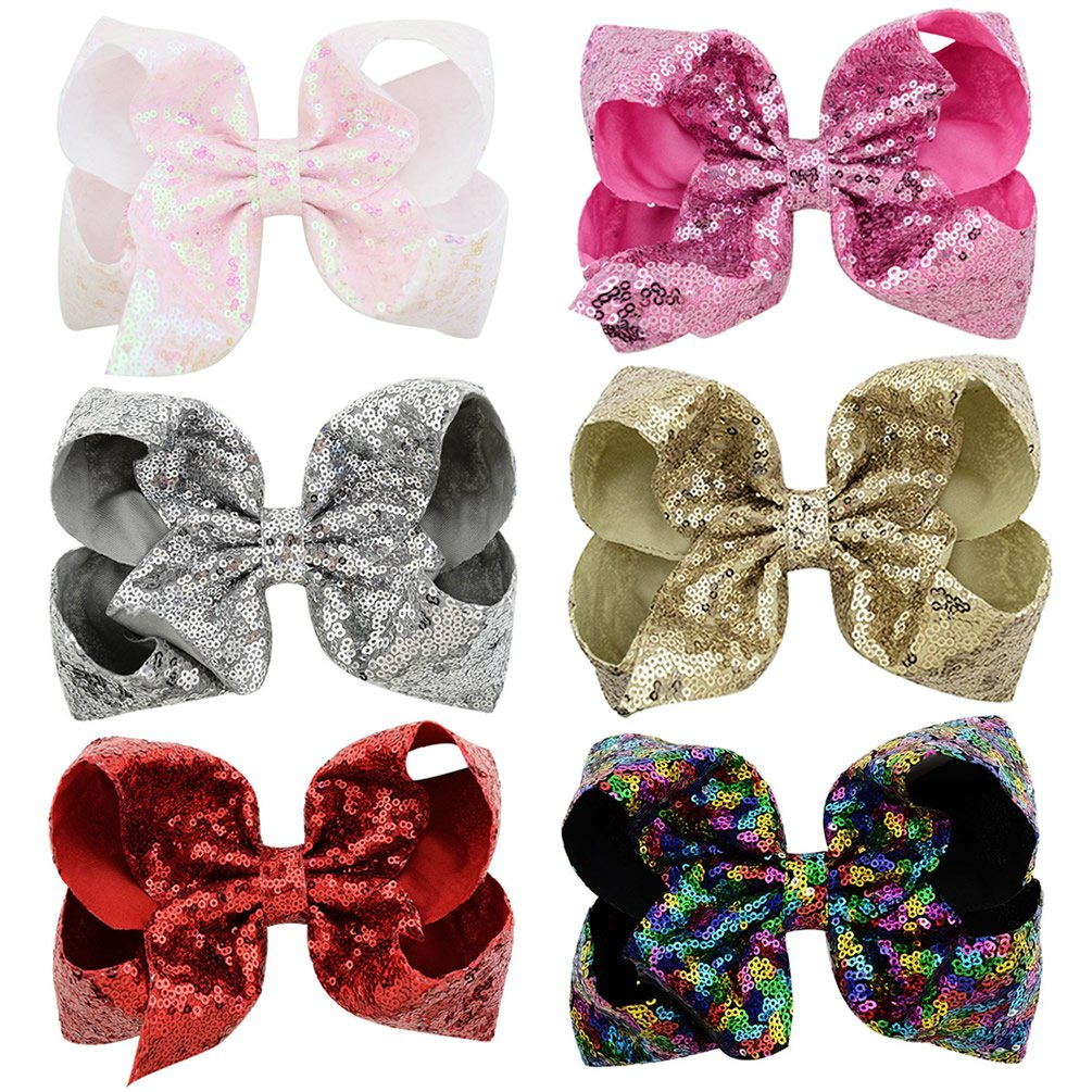 inSowni 8'' Big Large Glitter Bow Hair Clips Barrettes for Baby Girl Toddlers Kids Women (6PCS S2 (Size/8''))