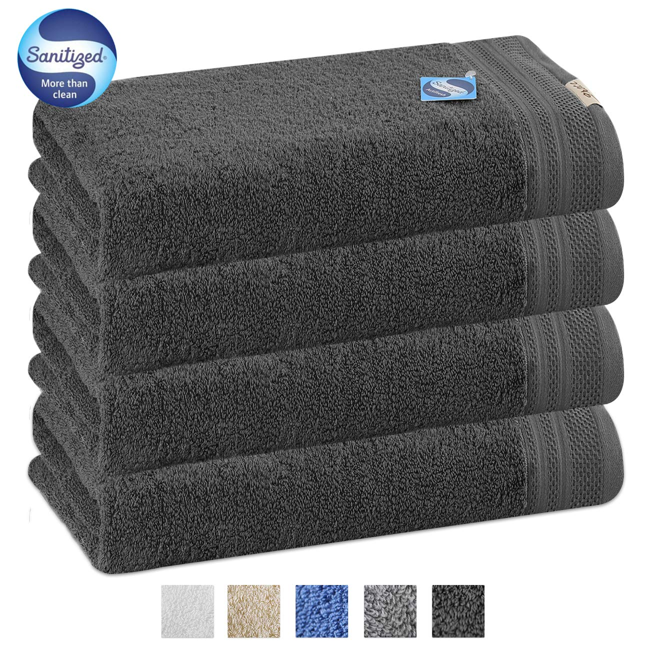GRACE ORCHID Luxury 4 Piece Bath Towel Set 56x28 Inch -100% Long Staple Cotton Super Soft,Ultra Absorbent and Machine Washable Bath Towels for Bathroom, Hotel and Spa Quality (Dark Grey)