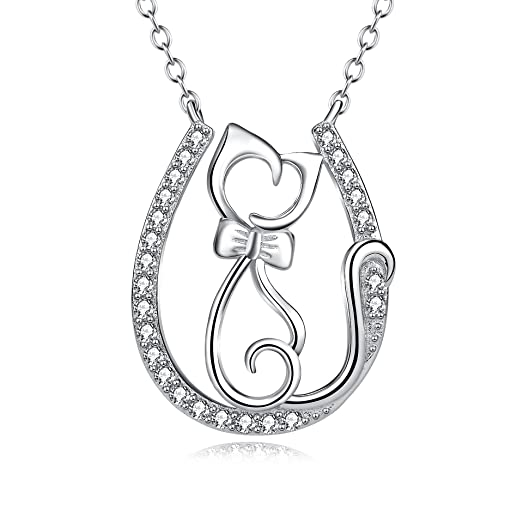 Sterling Silver Cubic Zirconia Pet Puppy Cat Pendant Necklace, 18