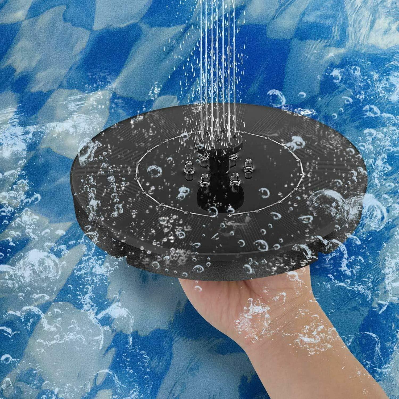 OCGIG 150L//h 2.4W Solar Fuente Bomba Flotado LED Solar Panel Incorporada Bater/ía Funci/ón de Agua con energ/ía Solar para estanques jard/ín Patio Acuario