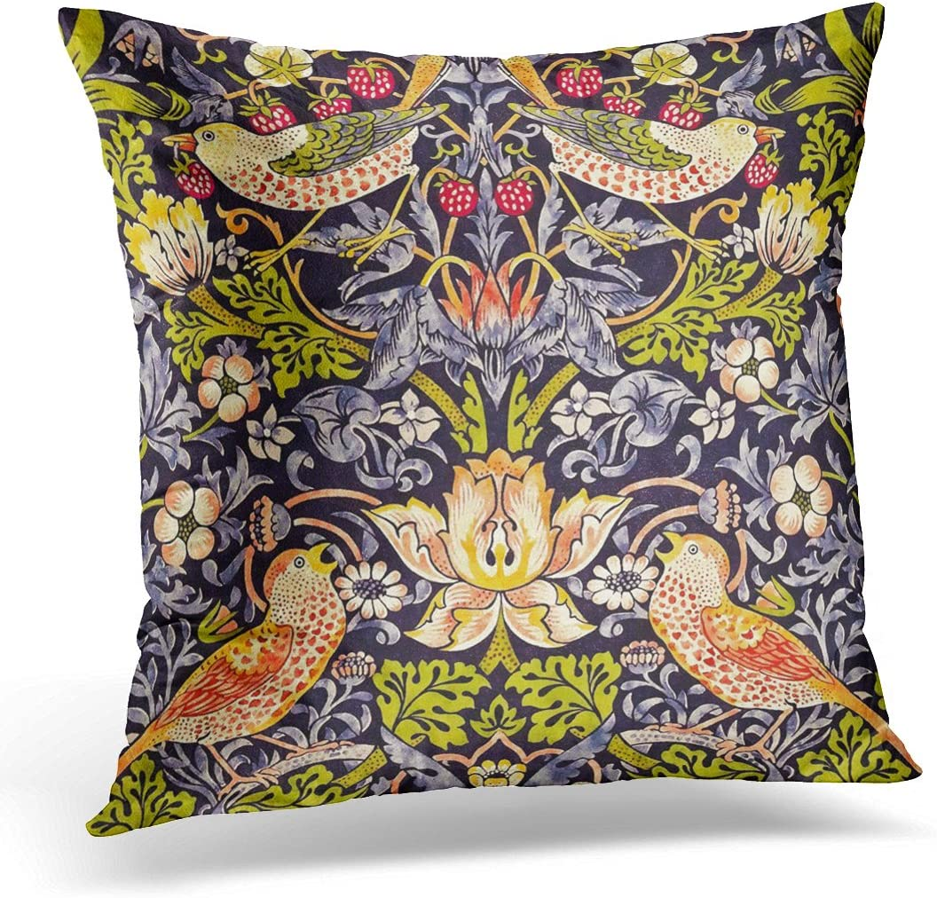 TORASS Throw Pillow Cover Vintage William Morris Strawberry Thief Floral Victorian Decorative Pillow Case Home Decor Square 18x18 Inches Pillowcase