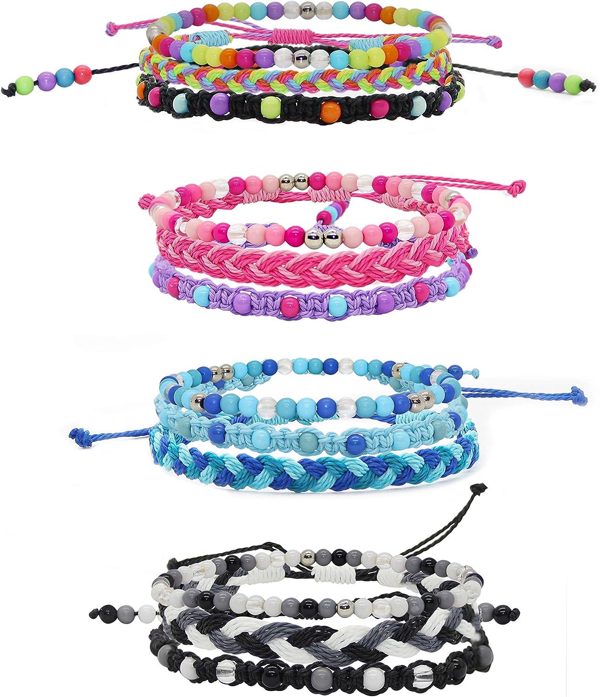 12 VSCO Bracelets for Teen Girls, Kids Friendship Bracelets for Girls, Party Favors for Pre Teen Girl, Cute VSCO Girl Stuff, VISCO Braided and Stretch Friendship Bracelet Pack, Stackable Bead Woven String Bracelets