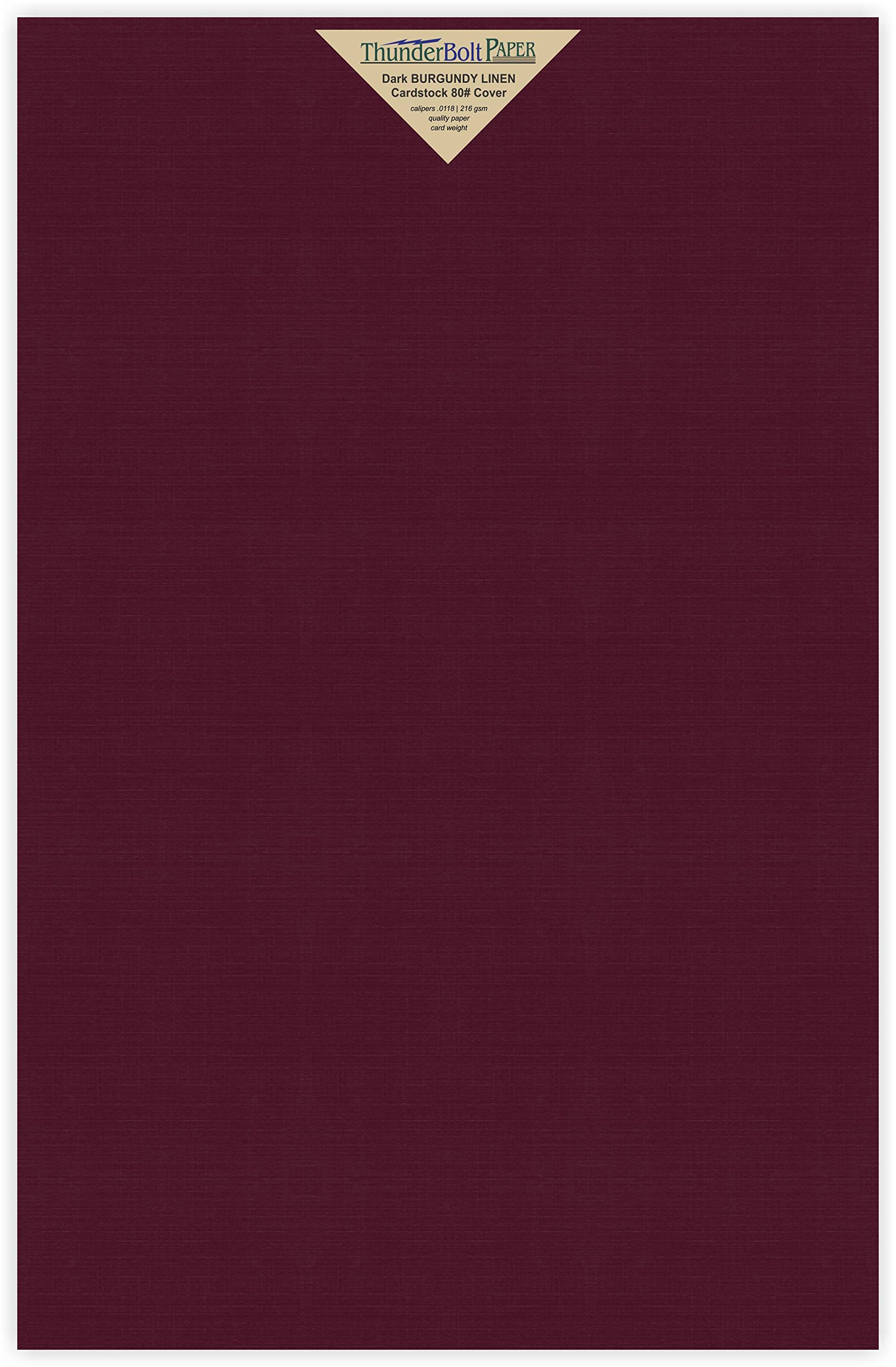 200 Dark Burgundy Linen 80# Cover Paper Sheets - 11'' X 17'' (11X17 Inches) Tabloid|Ledger|Booklet Size - 80 lb/Pound Card Weight - Fine Linen Textured Finish - Deep Dye Quality Cardstock