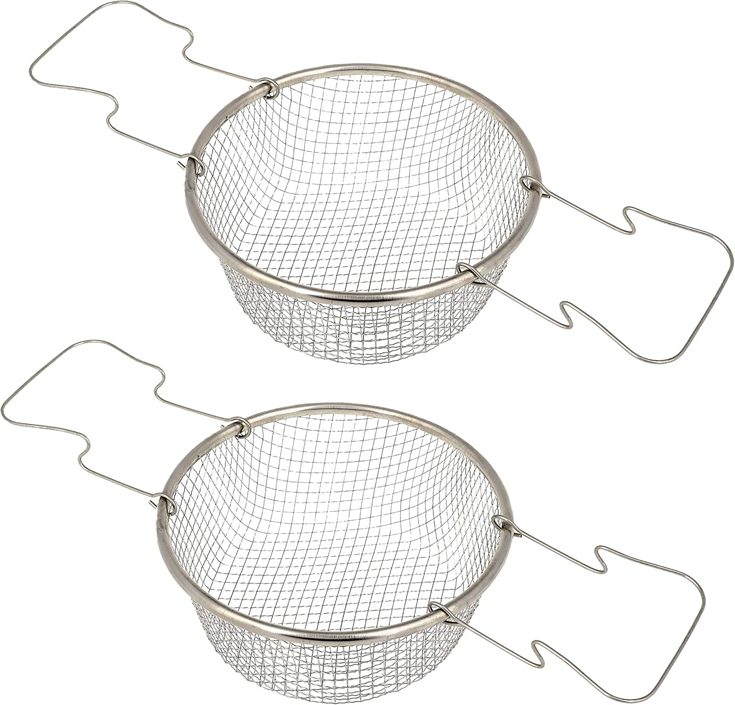 Deep Frying Basket - Pack of 2 - Fry Basket Round - Fry Basket with Handle - 7.08 Inch