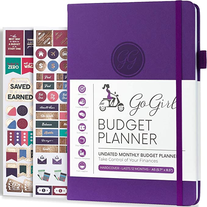 """Amazon.com : GoGirl Budget Planner - Monthly Financial Planner Organizer Budget Book. Expense Tracker Notebook Journal to Control Your Money. Undated - Start Any Time, A5-5.7"""" x 8.5"""", Lasts 1 Year - Purple : Office Products"""