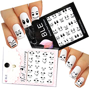 Amazon smiley face nail art water slide tattoo sticker2 smiley face nail art water slide tattoo sticker2 pack with bonus prinsesfo Image collections