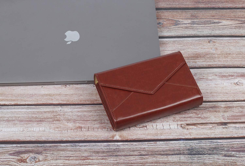 TYTX Pochette de rangement en cuir pour ordinateur portable, adaptateur d'alimentation, souris sans fil, chargeur de téléphone, organiseur de câble de voyage (Marron) Marron