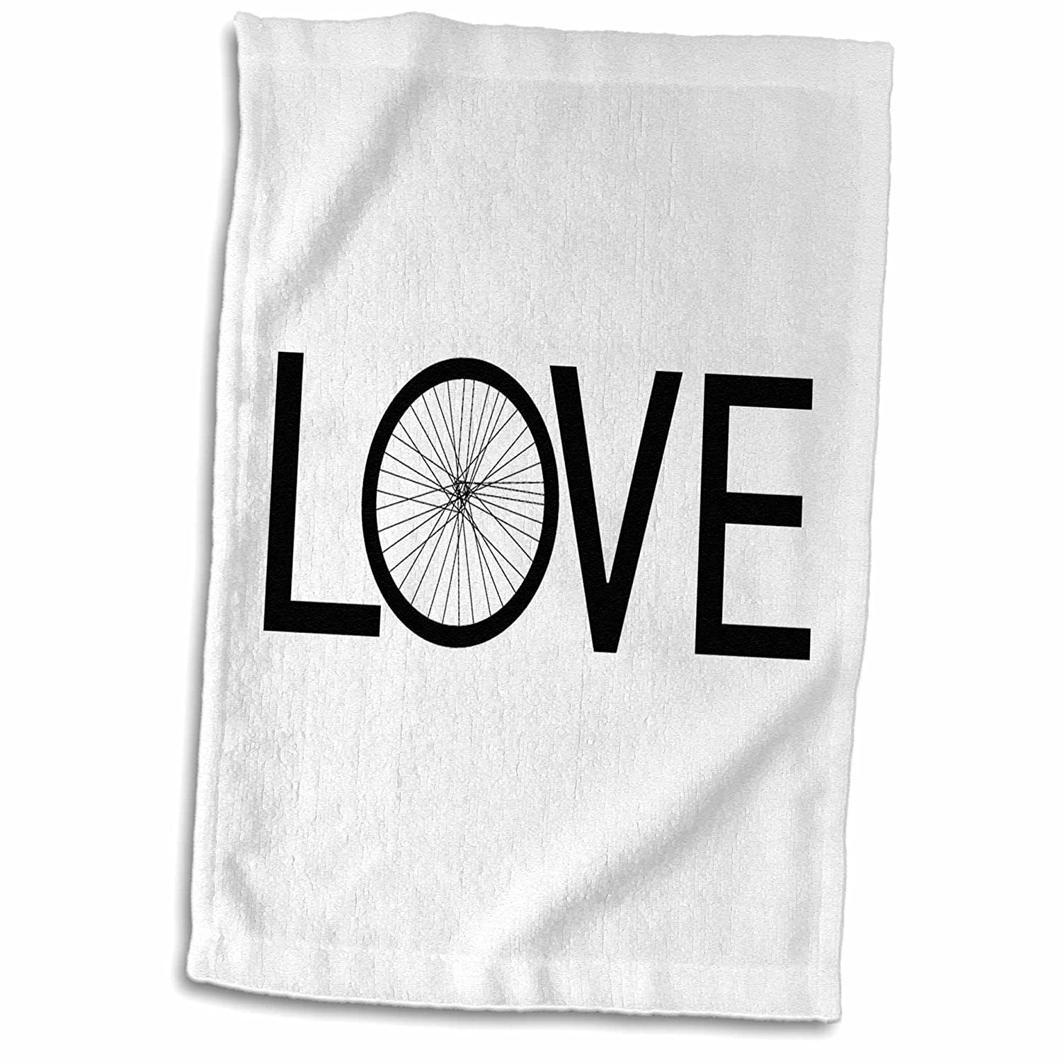 15 x 22 3D Rose Love Bicycles Black Text Bike Wheel O Cycler Typography Cycling TWL/_180464/_1 Towel