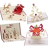 Pop Up Carte 3D Cartoline Natale Biglietto d'Auguri per Natale/Capodanno,4 Pezzi