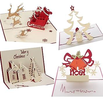 3d tarjetas de Navidad, Pop Up de Navidad Vacaciones tarjetas de ...
