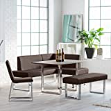 Kitchen Nook Dining Set with Bench Chair Table with Chrome Legs Seats up to 6 people Fresh Modern Breakfast Loft Area plus FREE GIFTS