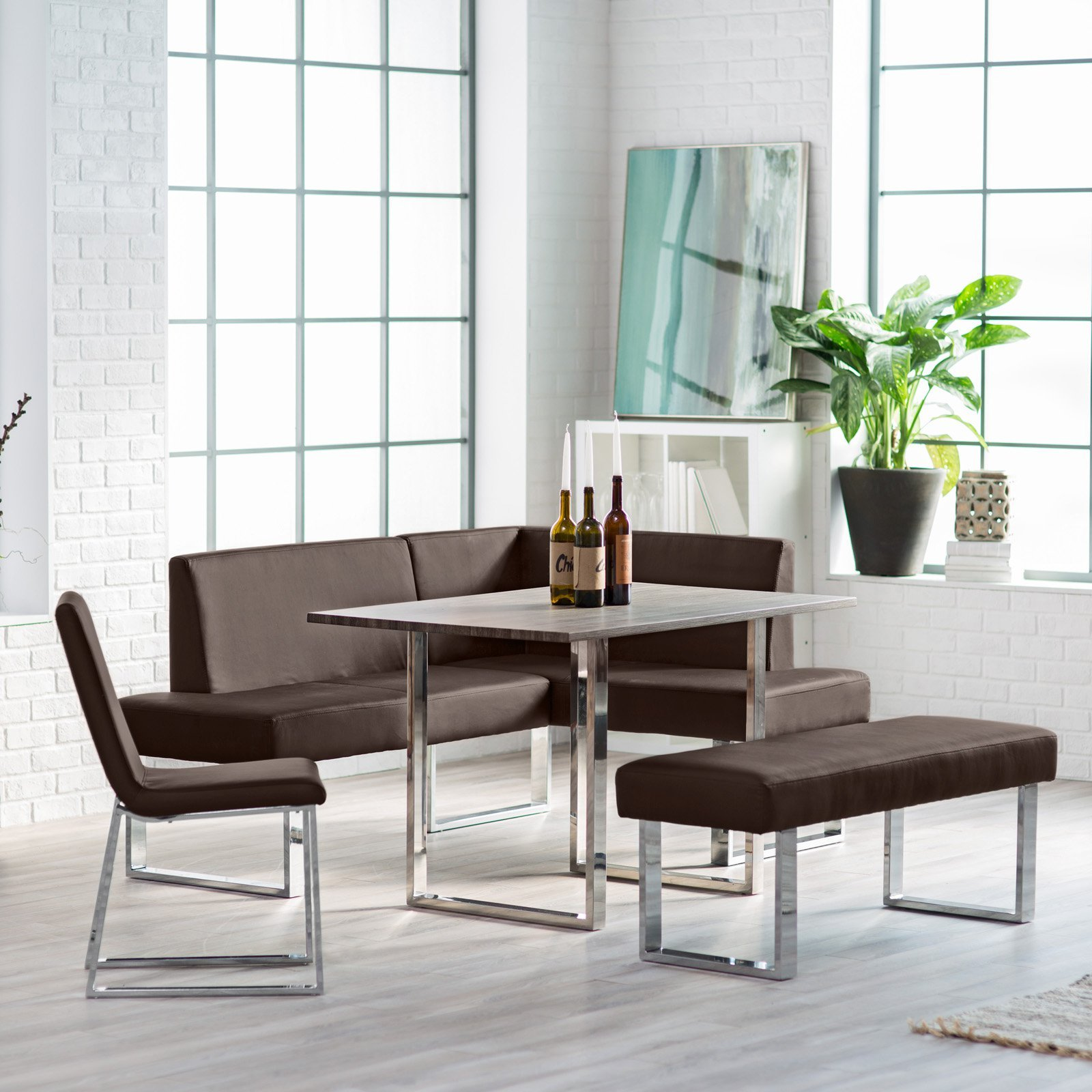 Kitchen Nook Dining Set with Bench Chair Table with Chrome Legs Seats up to 6 People Fresh Modern Breakfast Loft Area Plus by Breakfast Nook Furniture