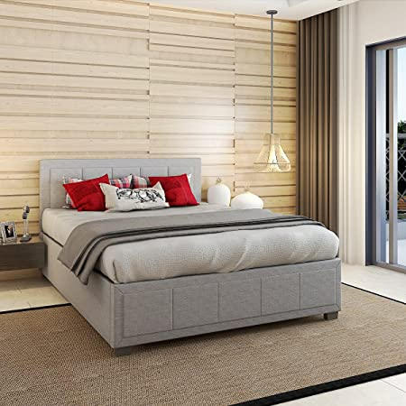 Bon Grey Fabric Ottoman Storage Gas Lift Bed Frame Master Room Decor