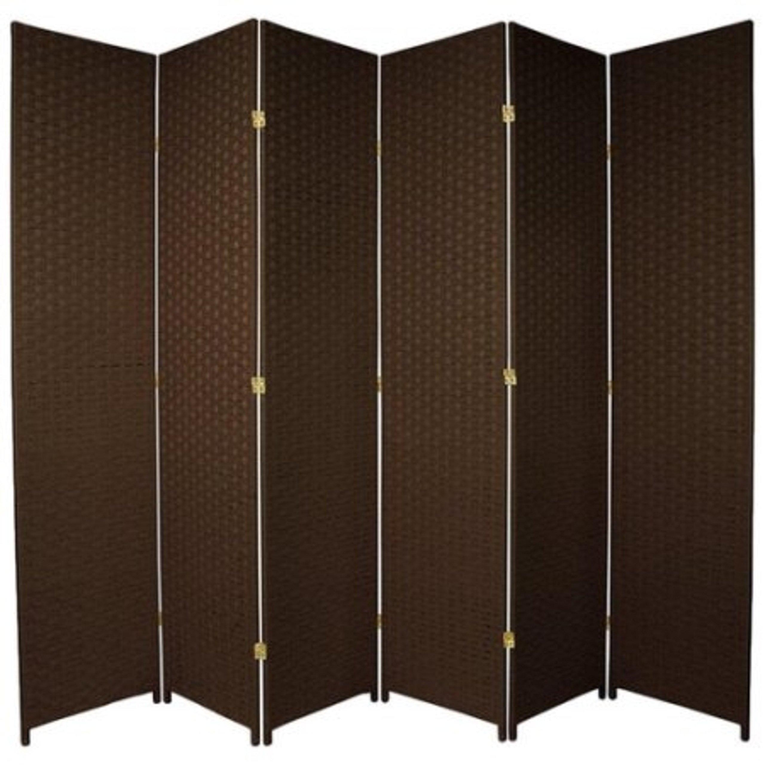 Natural Plant Fiber Woven Room Decor Dark Mocha 6 Panels Divider