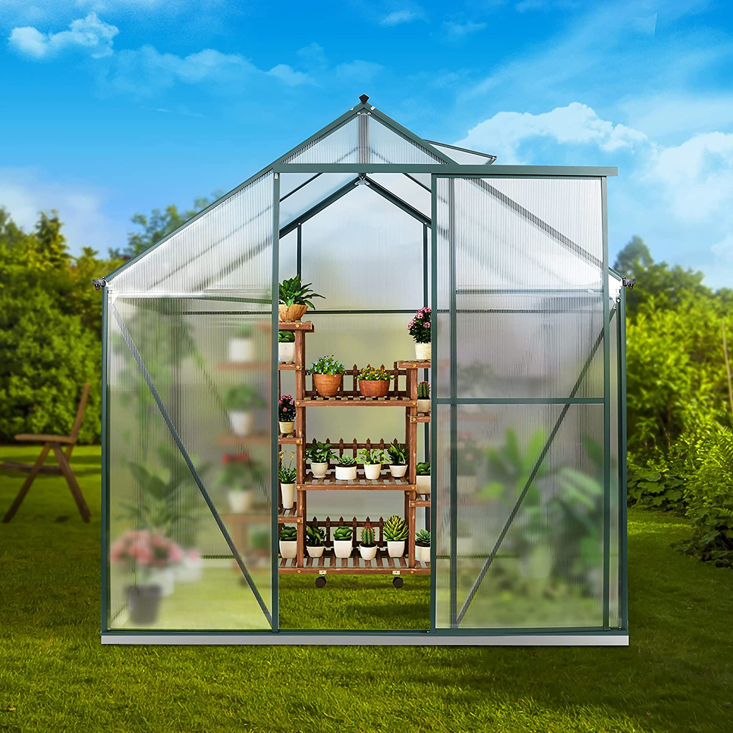 JULY'S SONG 6'x8' Greenhouse,Polycarbonate Walk-in Plant Greenhouse with Window for Winter,Garden Green House Kit for Backyard/Outdoor Use(8'x6')