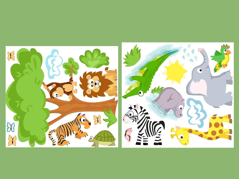 Wandtattoowelttiere Set Baby 10 Tiere Afrika Wandaufkleber F U R